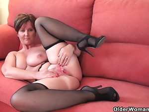 Magnificent granny with big tits shows her fuckable erection
