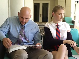 Petite student momentarily kilt skirt Melody Marks hooks up with bald headed teacher