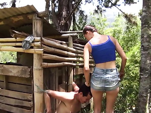 latina teen dominate slave outdoor at farm