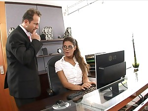 The boss is  keen to fuck the secretary's wet cunt in merciless XXX