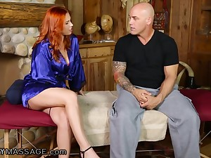 Alluring ginger masseuse Edyn Blair treats Derrick Pierce roughly nice cock rub down