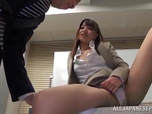 Skinny Japanese secretary Ayu Sakurai moans at near a quickie