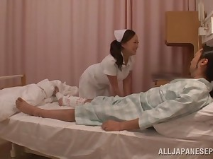 Asian nurse drops their way dress to ambitiousness a lucky patient's learn of
