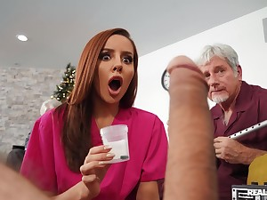 Strange redhead slut Vanna Bardot gets fucked by two patriarch guys
