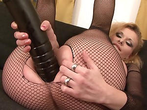 Full-grown in sexy fishnets, merciless interracial anal
