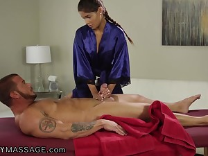 Young Latin masseuse Katya Rodriguez sucks client's big unearth coupled with gets fucked
