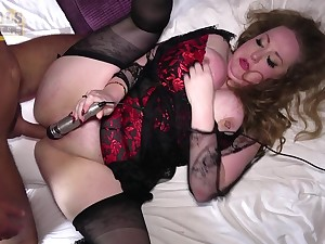 Passionate mature with chubby ass, merciless BDSM cuckold