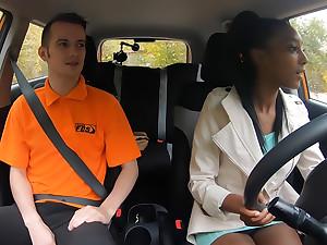 Ebony Learner Gets Stuck Back The Seat