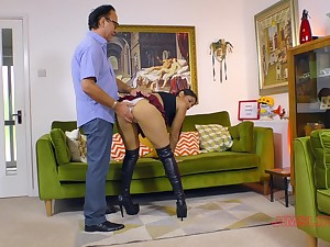 Sahara Knite wears a slutty unvarying skirt during sex with older man