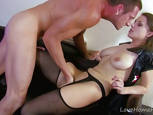 Hot Fucking Nurse in Stockings - amateur hardcore with cumshot
