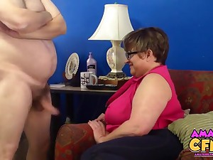 Fat mature Judith takes his dick in her hands almost apologize him cum