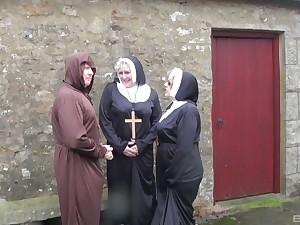 Dirty mature nuns Trisha and Claire Manful have kinky threesome