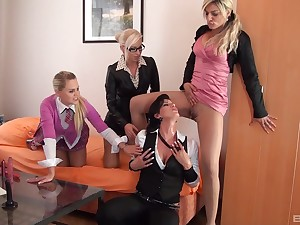 Clothed women share the lasciviousness for oral dealings in a perfect lesbian orgy