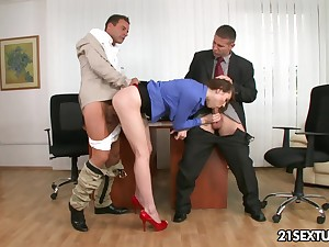 Long legged bossy babe gets to be thrilled by will not hear of investors in the hottest threesome