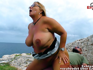 German chubby blonde housewife outdoor