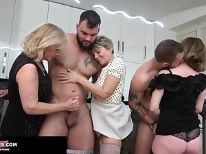 Horny mature sluts group crazy copulation video
