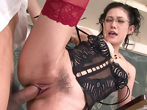 Full-grown moans with young inches in her trimmed reddish