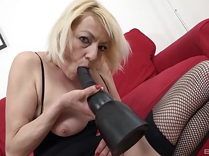 Naughty blonde matured Adriana Hallow opens fingertips for interracial anal sex