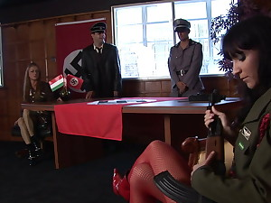 four hot babes in military gear fuck four blistering dudes