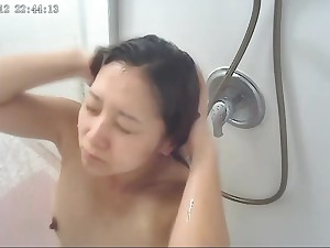 Japanese wife 35 in shower & little accident