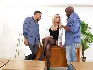 Full-grown blonde dazzles once the black dudes start pumping her