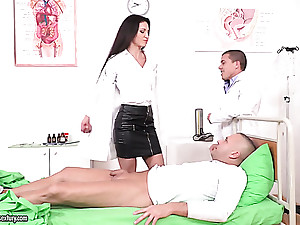 Fabulous brunette doctor gets boned by her colleague and at all events