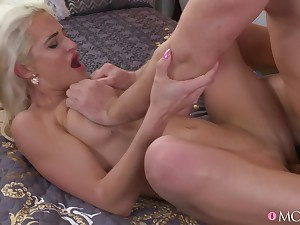 Deep penetration for the hot blonde after she sucks as though a pro