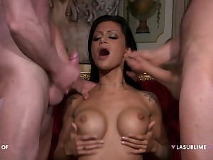 Hardcore MMF threesome with spit-roast for rejected Elena Grimaldi