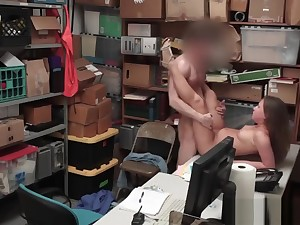 Burglar Brooke Rapture Gets Roughly Pounded In Office