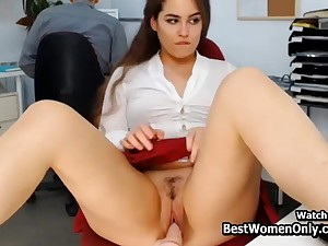 Latin Couple Happy medium a absolutely Dildo Webcam Show In Office