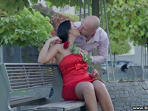 Bodacious brunette in red dress Rebeka is having sexual intercourse on the first slot