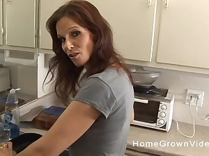 Amazing cutie kneels down and drools on a big delicious cock