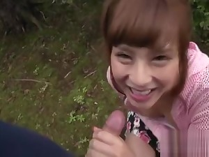 Enticing asian in upskirt receives uncouth jamming