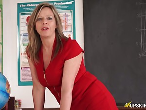 Slutty teacher in short red dress Lou Stab teases with yummy twat upskirt