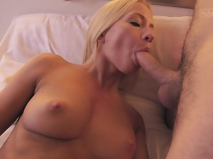 Hungarian blonde with natural tits Kiara Pull rank loves cock and cum