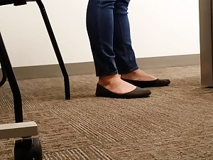 A Look Elbow An Office Managers Well Worn Black Ballet Flats